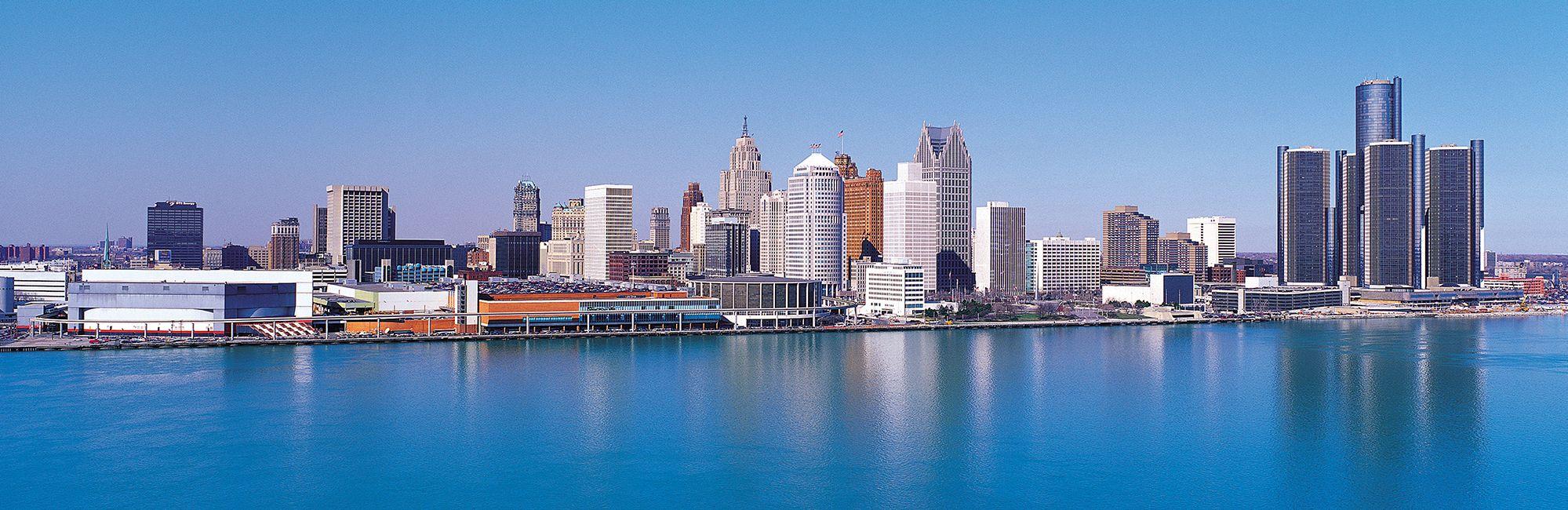 Blick auf die Skyline von Detroit